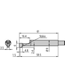 hrot drsnoměru pro měkké povrchy (poloměr hrotu 10 µm)